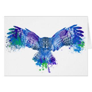Blue owl color splash greeting card