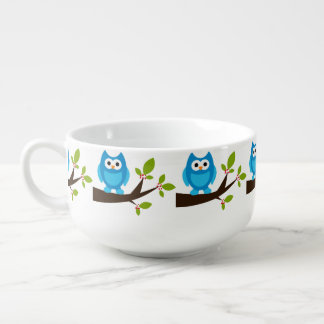 Blue Owl Cute Soup Bowl With Handle