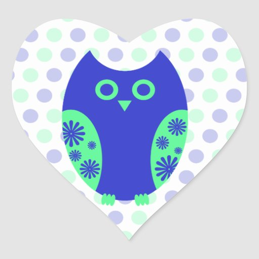 Blue Owl Heart Stickers or Envelope Seals