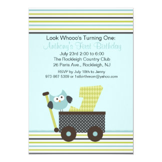 Blue Owl In A Wagon 1st Birthday Invitation