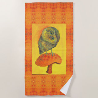 blue owl on a mushroom beach towel