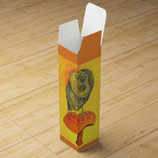 blue owl on a mushroom wine box
