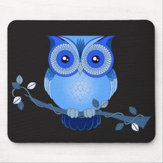 Blue Owl on Black Mousepad