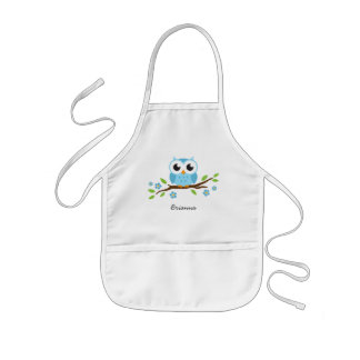 Blue owl on branch with flowers personalized name kids apron