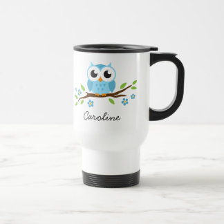 Blue owl on flowering branch customizable name travel mug