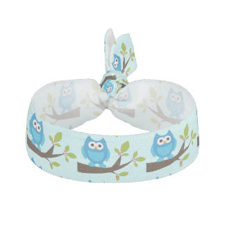 Blue Owl On Tree Animals Cute Elastic Hair Tie