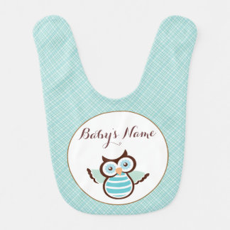 Blue Owl Personalized Baby Bib