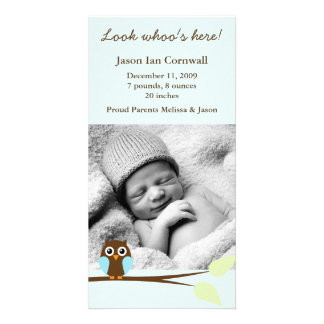 Blue Owl Photo Birth Announcements Card
