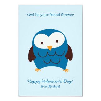 Blue Owl Valentines 3.5x5 Paper Invitation Card