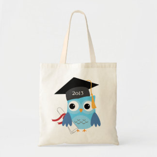 Blue Owl with Diploma Class of Graduation Tote Bag