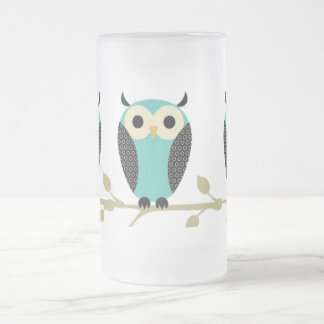 Blue Owls On Limb Frosted Glass Beer Mug