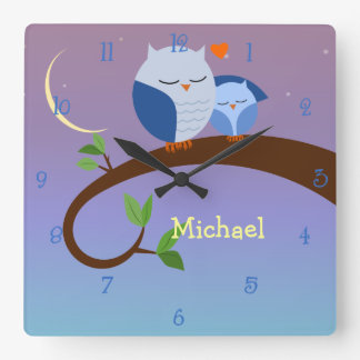 Blue Owls Personalized Wall Clock