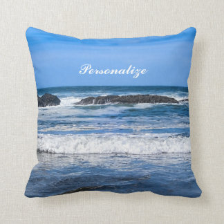 Blue Pacific Ocean With Name Throw Pillow
