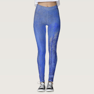 Blue paint abstract with scratches and runs leggings