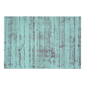 Blue paint old wooden wall poster