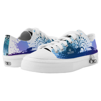 Blue Paint Splatter Abstract  101 Low-Top Sneakers