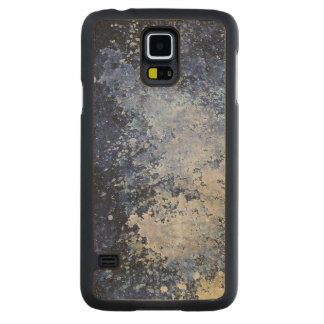Blue Paint Splatter Acid Wash Texture Carved Maple Galaxy S5 Case