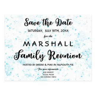 Blue Paint Splatter Family Reunion Save the Date Postcard