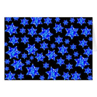 Blue Paint Splatter Jewish Stars Card