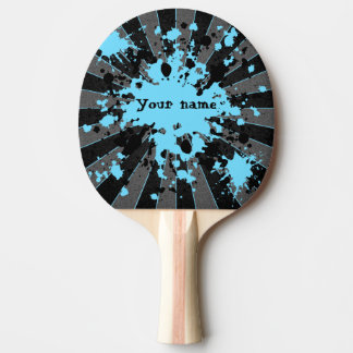 Blue paint splatters black and gray personalized ping pong paddle
