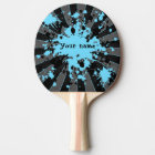 Blue paint splatters black and grey ping pong paddle