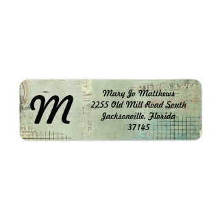 blue paint vintage Newspaper STamped collage Return Address Label