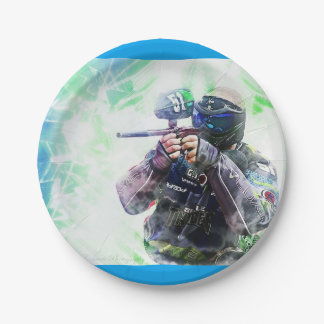 Blue Paintball Paper Plate