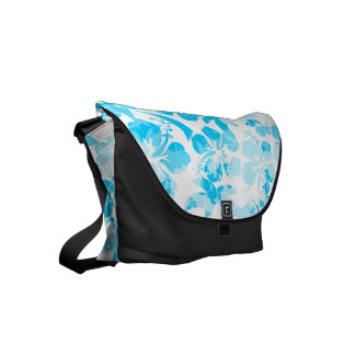 Blue painted tropical floral commuter bag