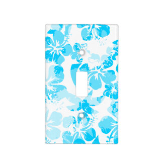 Blue painted tropical floral light switch cover