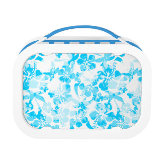 Blue painted tropical floral lunch box