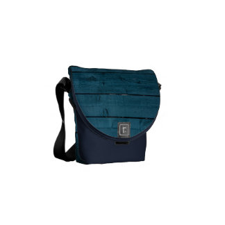 Blue painted wood planks courier bag