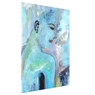 Blue Painting Decor Urban Princess Painting Canvas