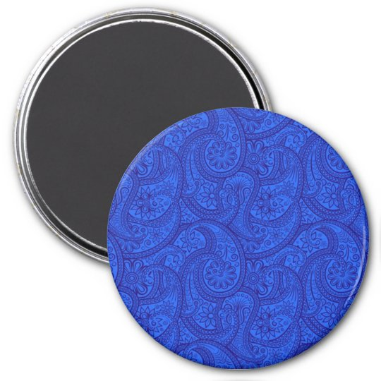 Blue Paisley 3 Inch Round Magnet
