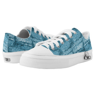 Blue Paisley Design Low-Top Sneakers