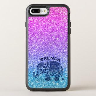 Blue Paisley Elephant Pink & Blue Glitter OtterBox Symmetry iPhone 8 Plus/7 Plus Case