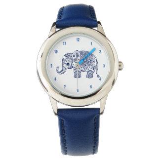 Blue Paisley Floral Elephant Illustration Wristwatches