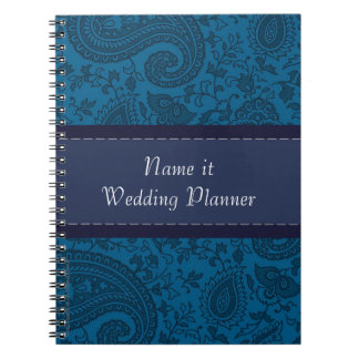 Blue paisley Indian Damask Wedding Planner Notebook