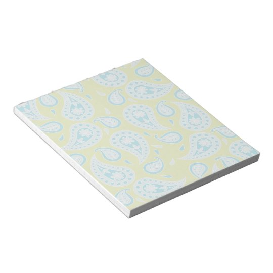 Blue Paisley on Bright Green Notepad