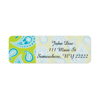 Blue Paisley on Bright Green Return Address Label