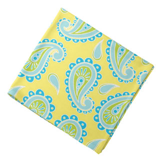 Blue Paisley on Yellow Bandana