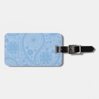 Blue paisley pattern luggage tag