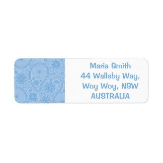 Blue paisley pattern return address label