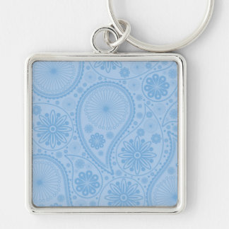 Blue paisley pattern Silver-Colored square keychain