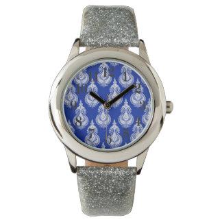 Blue  paisley pattern wrist watch