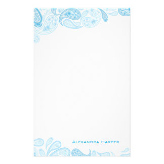 Blue Paisley Personalized Stationery