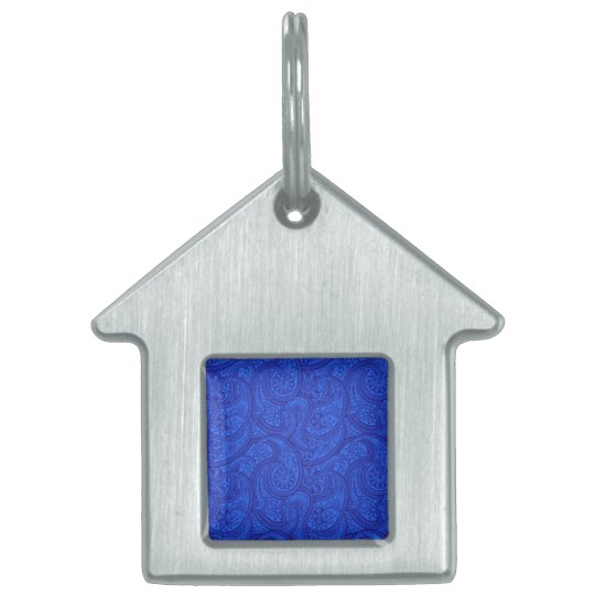 Blue Paisley Pet Name Tag