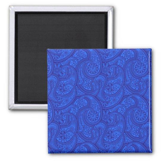 Blue Paisley Square Magnet