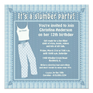 Blue Pajamas Slumber Party Invitation