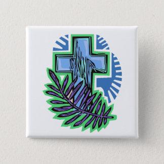 Blue Palm Cross 2 Inch Square Button