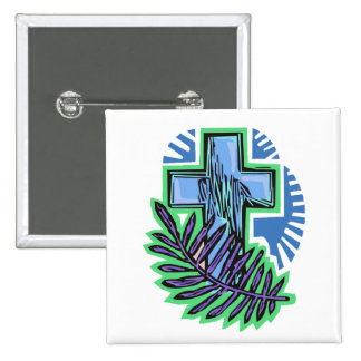 Blue Palm Cross 2 Inch Square Button